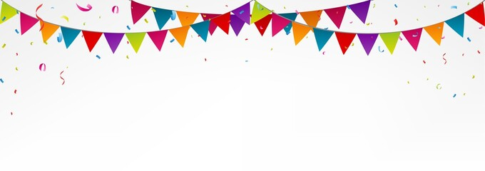 Birthday bunting flags, with confetti, colorful bunting ,birthday banner, birthday background, birthday party