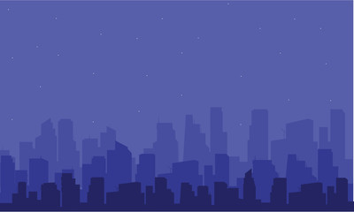 Silhouette of big city at the night