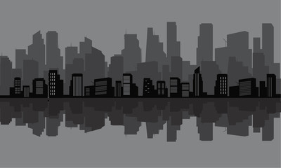 Silhouette of many tall buildings