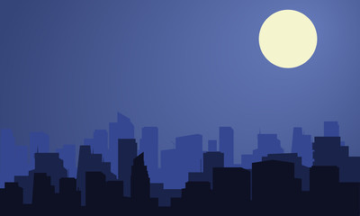 Silhouette of city with moon at the night