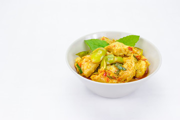 Stir fish ball with spicy herbs on background