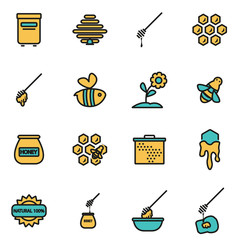 Trendy flat line icon pack for designers and developers. Vector line honey icon set, honey icon object, honey icon picture, honey image - stock vector