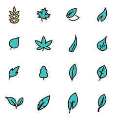 Trendy flat line icon pack for designers and developers. Vector line leaf icon set, leaf icon object, leaf icon picture, leaf image - stock vector