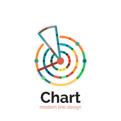 Thin line chart logo design. Graph icon modern colorful flat style