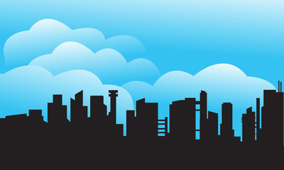 Silhouette of city and cloud