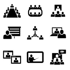 Vector Conference icons set. Business communication. Conference Icon Object, Conference Icon Picture, Conference Icon Image - stock vector