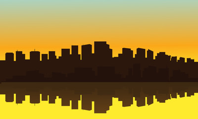 Silhouette of big city suburb