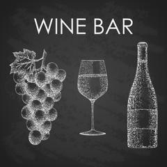 wine hand drawn set