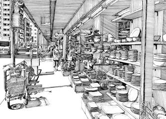 Street pottery shop