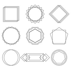 Mono line frames elegant design elements badges, vignettes vector.
