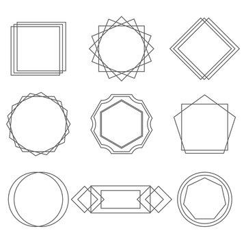 Mono line frames elegant design elements badges, vignettes vector.