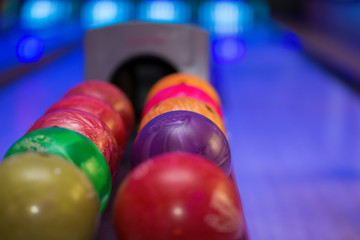 Close up of bowling balls