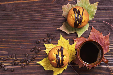 Cupcakes with chocolate and coffee