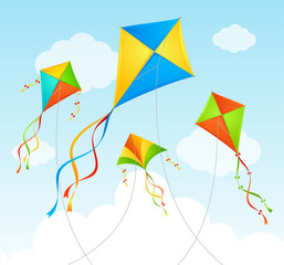 Fly Kite Summer Background. Vector