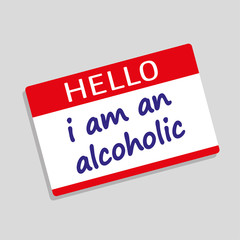 Hello My Name Is badge or visitor pass with the words I Am An Alcoholic added in blue text
