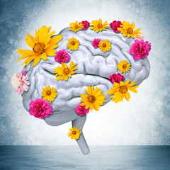 Human brain with flowers