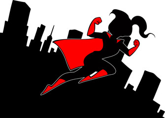 Cartoon background with superhero flying above the city