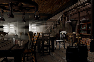 Wild West saloon 3D-illustration created from my mind