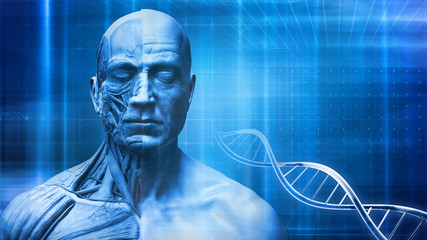 human face anatomy in abstract medical background with blue color and dna