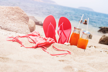 Beach Pink Flip Flops Bikini Orange Juice Holiday