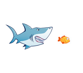 shark attak tiny fish vector illustration
