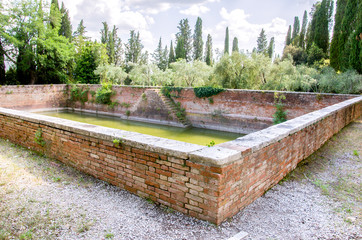 ancient water stock rainwater collection basin in Monte Oliveto Maggiore - Tuscany