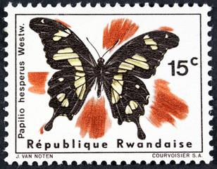 RWANDA - CIRCA 2010: A stamp printed in Rwanda showing Butterfly, circa 2010