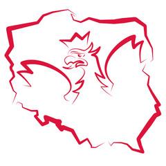 Mapa Polski z orłem