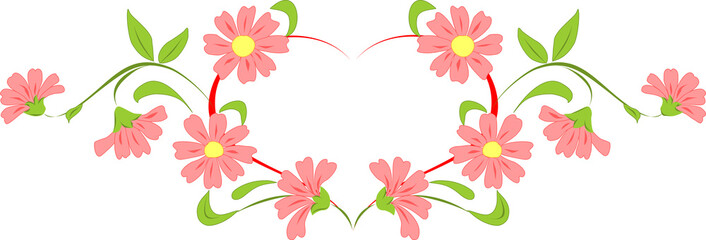 Heart flower wreath. Vector illustration.