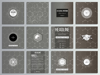 Set of 12 creative cards, square brochure template design. Chemistry pattern, hexagonal design vector illustration