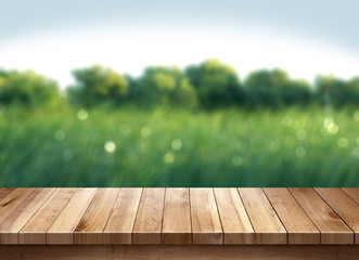 Wood table and green grass blurred background