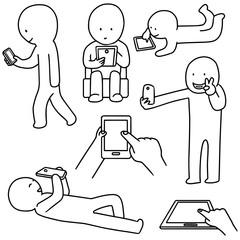 vector set of smartphone addiction