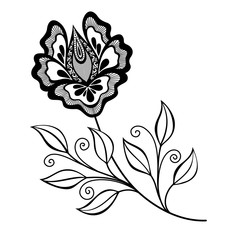 Vector Beautiful Abstract Black Flower