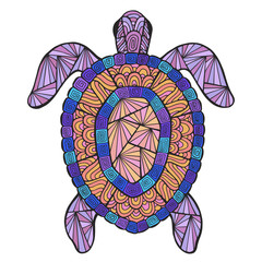 Vector stylized turtle with ethnic pattern.