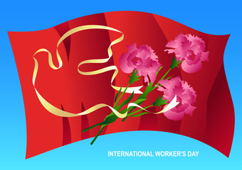 1st may worker's day vector illustration.Silhouette dove white banner on red flags background. Bouquet of carnations.