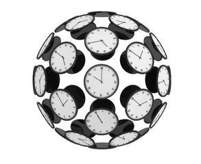 International Time Zones Concept. Modern Clocks as Sphere