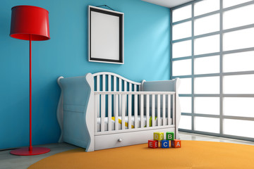 Children Room with Bed, Lamp and Blank Photo Frame