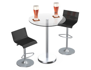 Black Bar Vintage Stools with Table and Glasses of Beer