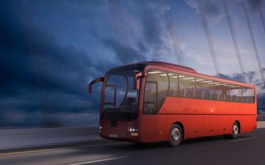 Travel Bus on bridge - Fast transportation