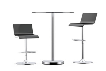 Black Bar Vintage Stools with Table