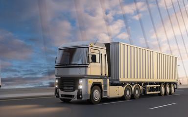 Semi-trailer truck on bridge at sunset