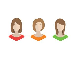Set of Women Avatars - Isolated Vector Illustration