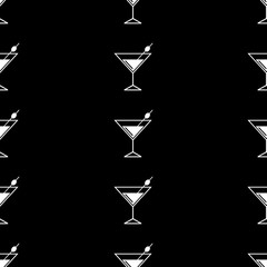 Seamless pattern background alcoholic beverages. Alcohol vector. Black and white