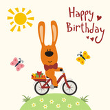 Happy Birthday Funny Rabbit On Bicycle With Gifts Butterflies Sun