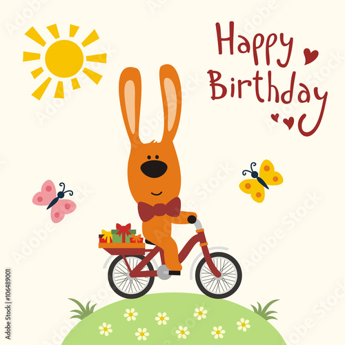 Happy Birthday Funny Rabbit On Bicycle With Gifts Butterflies Sun Card Cartoon Bunny Bike Vector Illustration