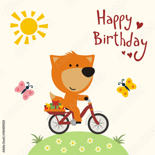 Happy Birthday Funny Panda Bear On Bike Carries Gifts