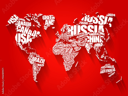 World map in typography word cloud concept names of countries flat world map in typography word cloud concept names of countries flat style design background gumiabroncs Choice Image