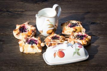 Vatrushka or cheesecake. Traditional Russian dessert for breakfast.