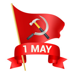 1st may day greeting illustration with red flag, hammer, sickle