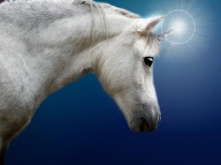Realistic white unicorn